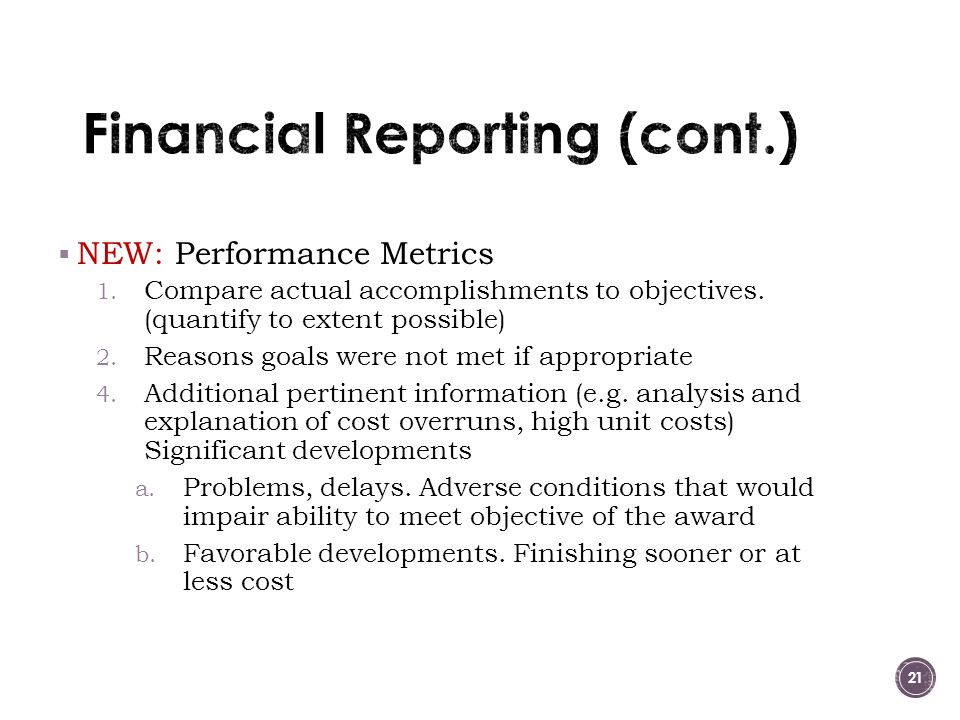 Financial Reporting (cont.)