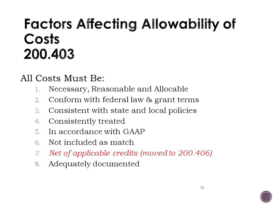 Factors Affecting Allowability of Costs 200.403