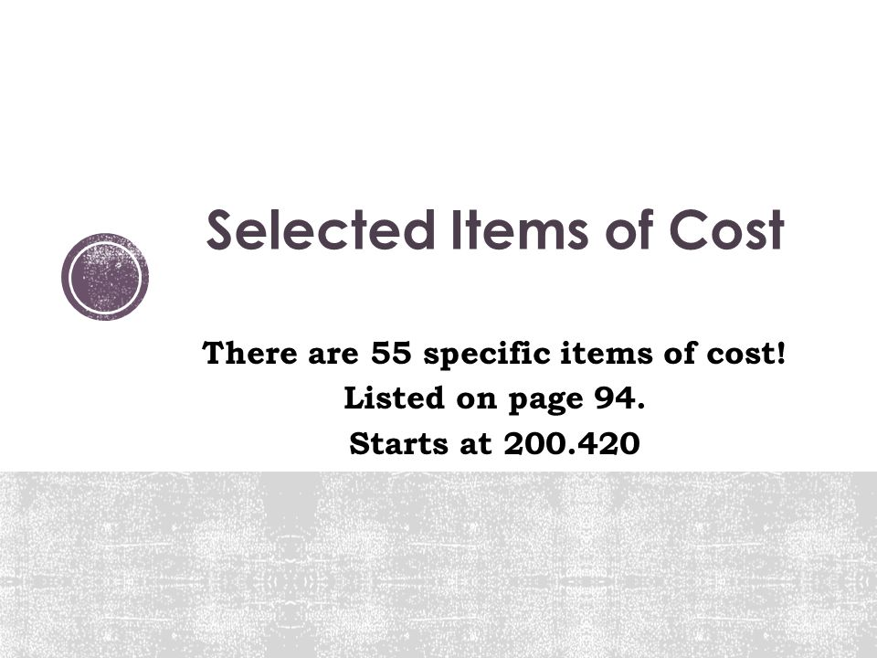 There are 55 specific items of cost!