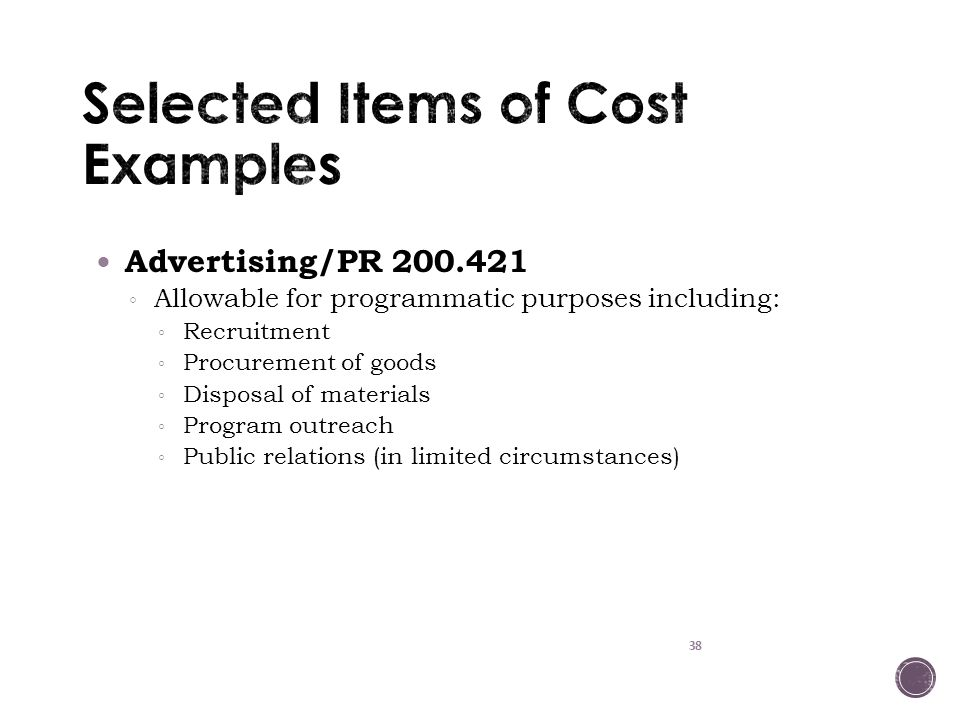Selected Items of Cost Examples