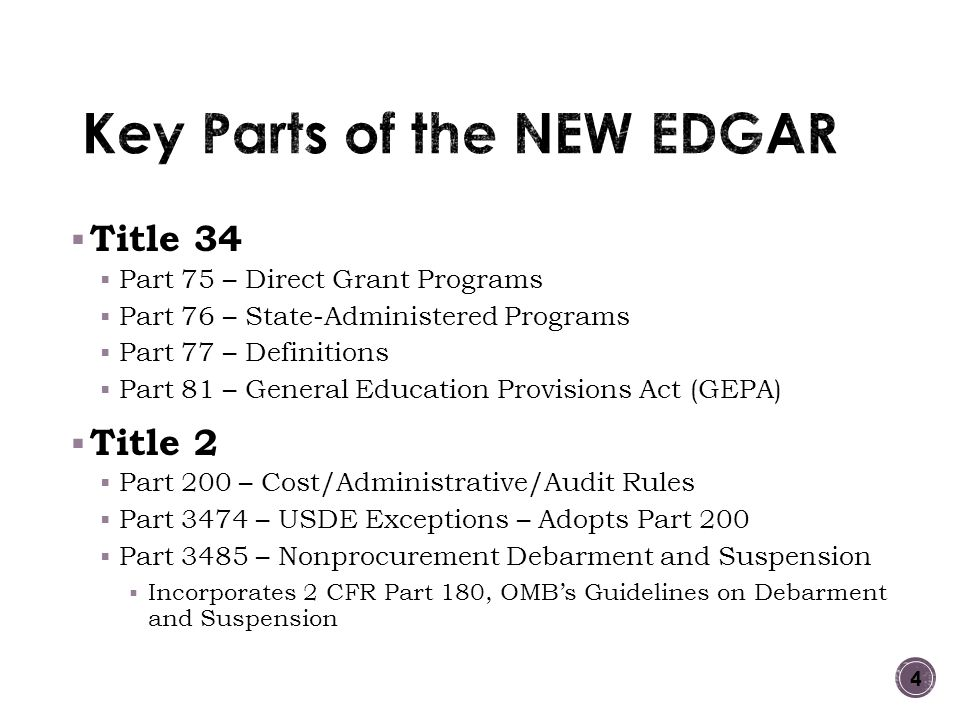 Key Parts of the NEW EDGAR