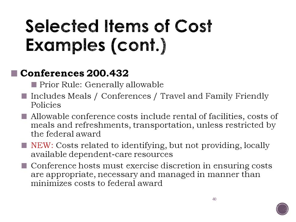 Selected Items of Cost Examples (cont.)