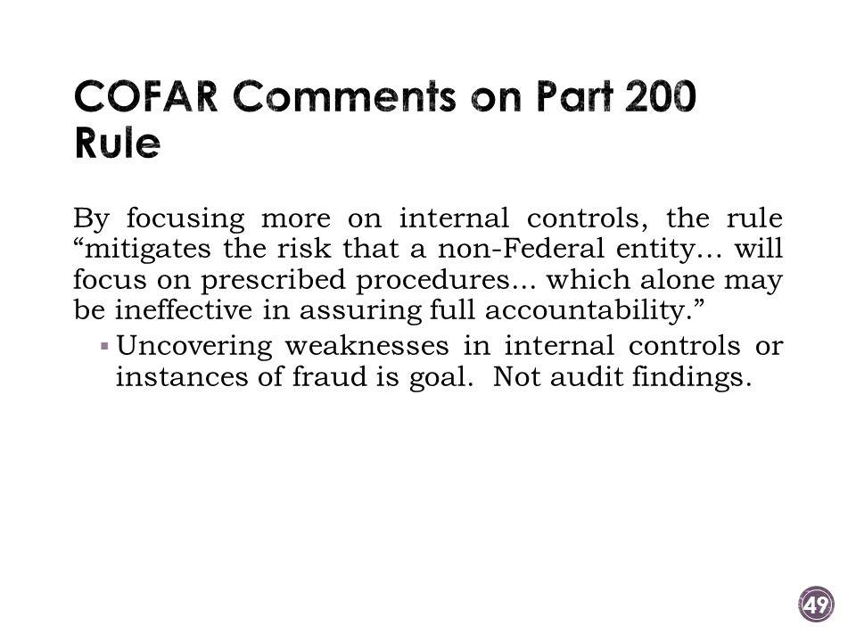 COFAR Comments on Part 200 Rule