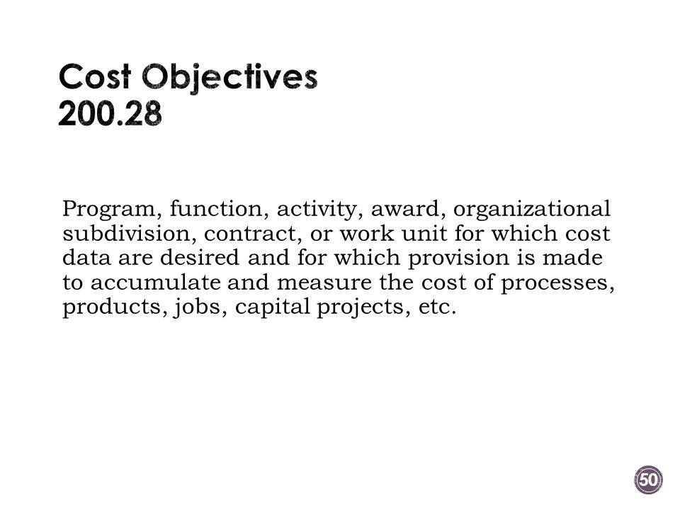 Cost Objectives 200.28
