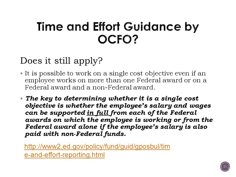 Time and Effort Guidance by OCFO