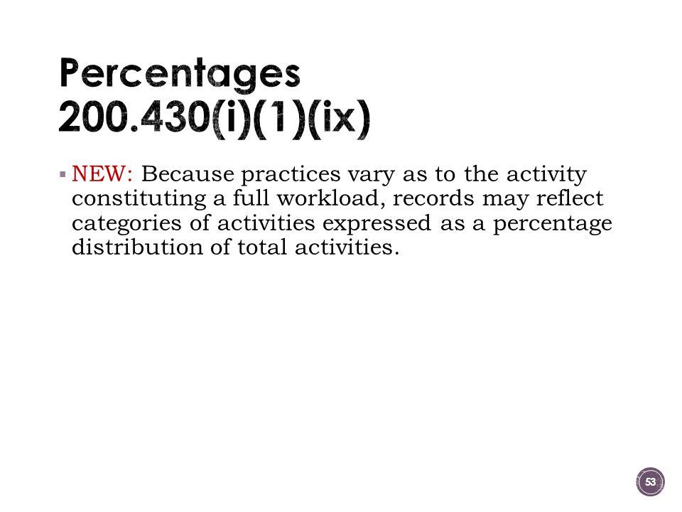 Percentages 200.430(i)(1)(ix)