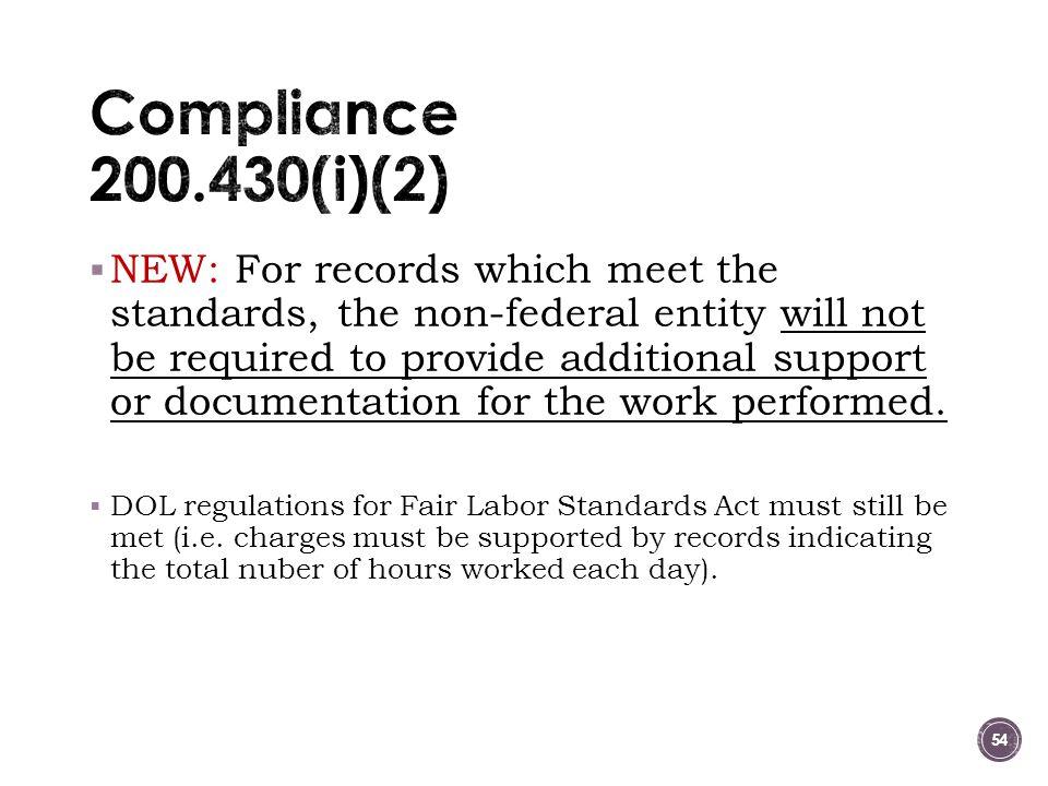Compliance 200.430(i)(2)