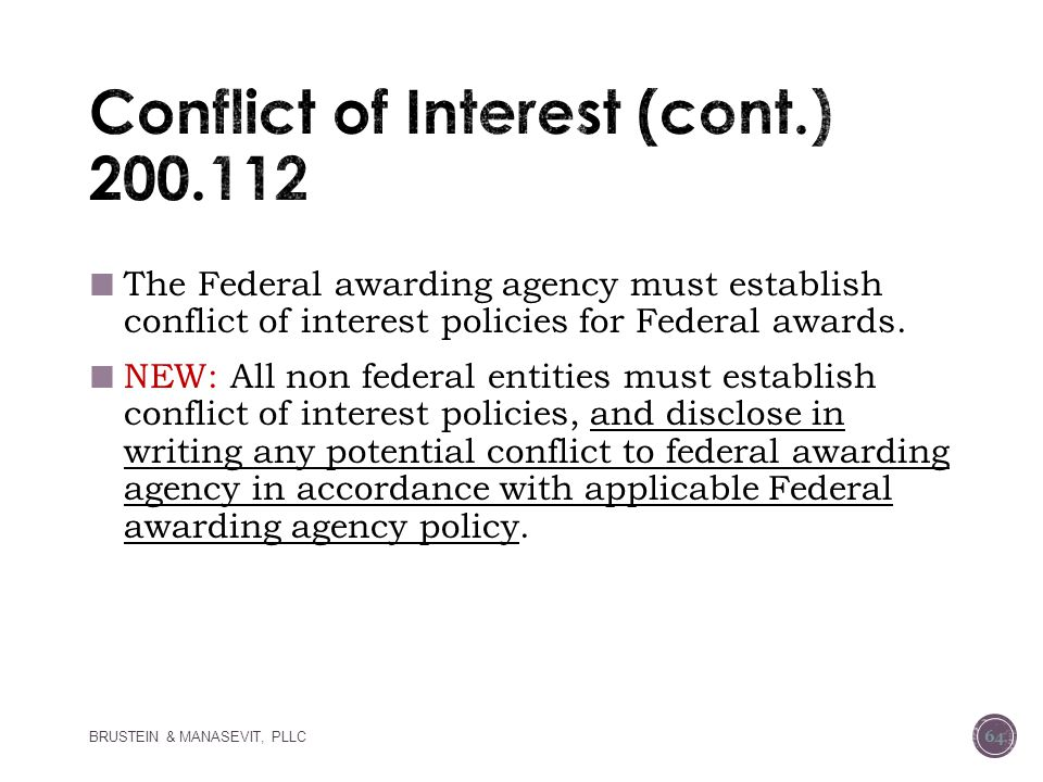 Conflict of Interest (cont.) 200.112