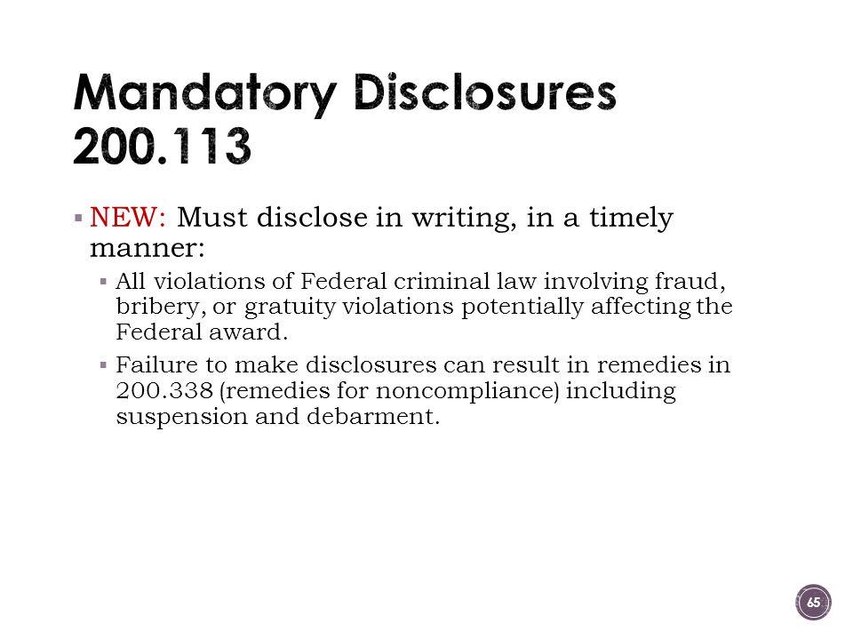 Mandatory Disclosures 200.113