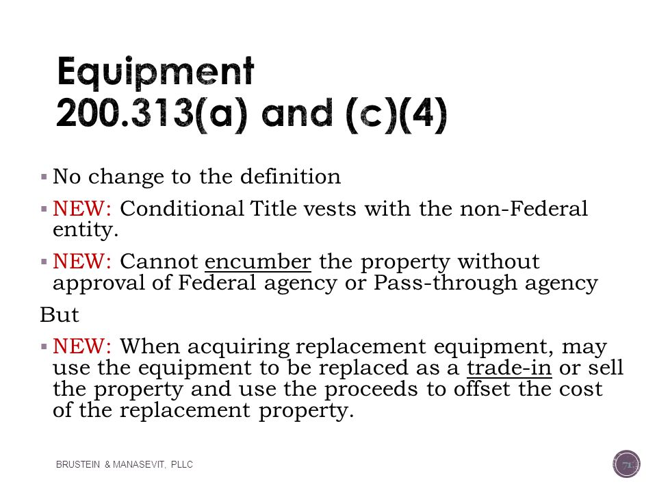 Equipment 200.313(a) and (c)(4)