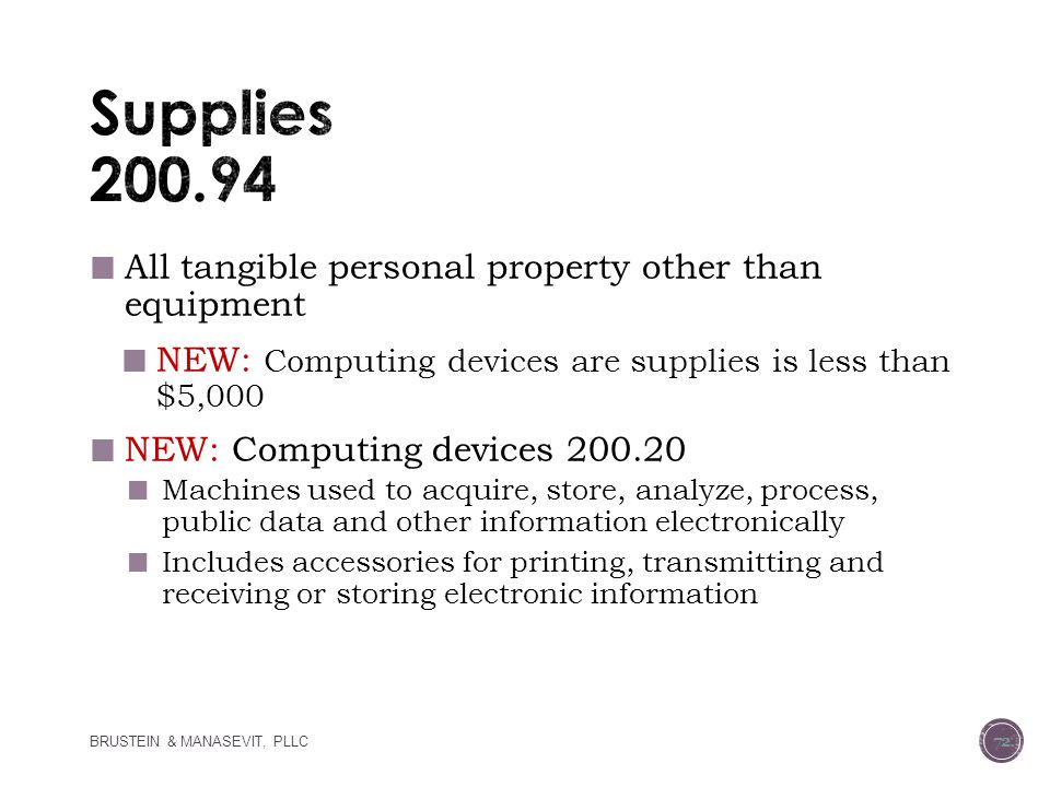 Supplies 200.94 All tangible personal property other than equipment