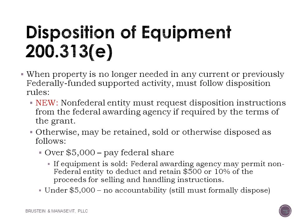 Disposition of Equipment 200.313(e)
