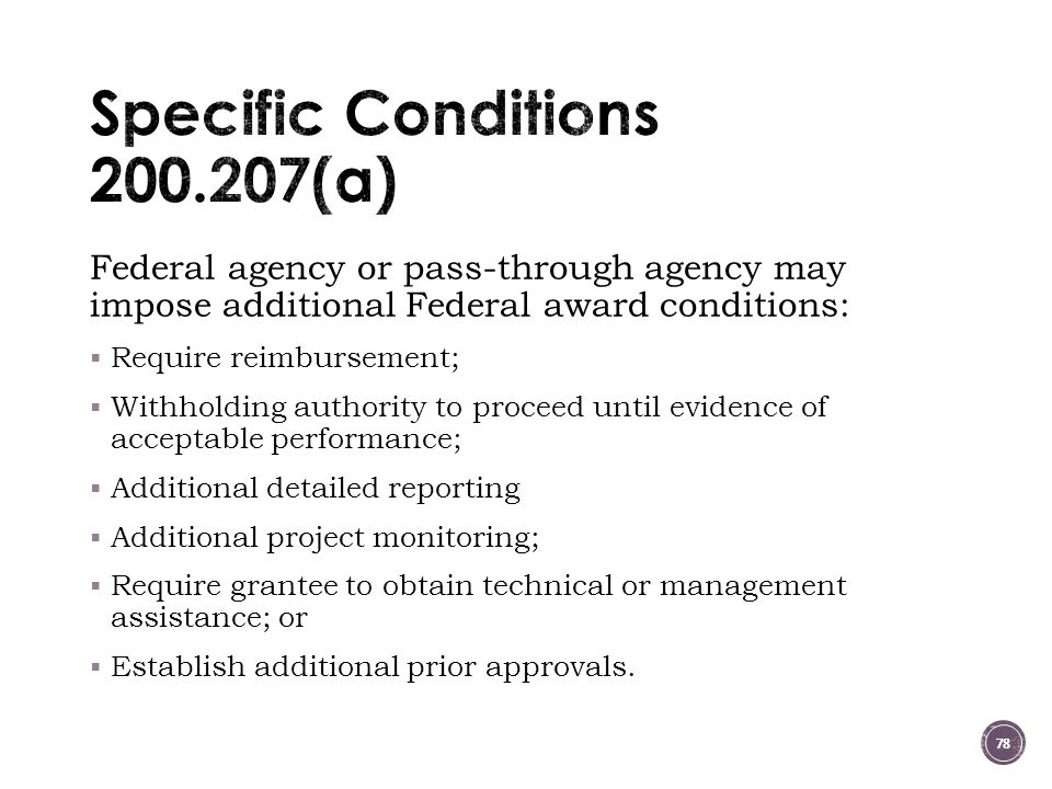 Specific Conditions 200.207(a)