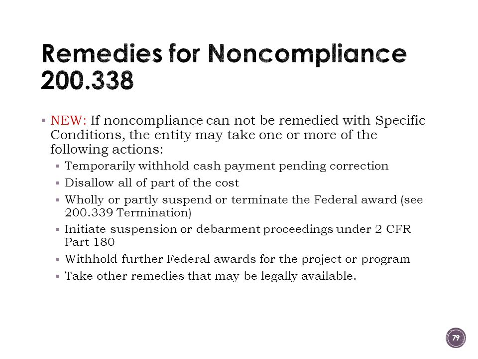 Remedies for Noncompliance 200.338