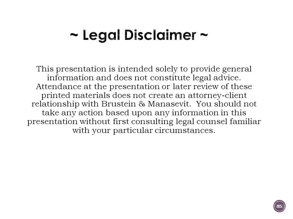 ~ Legal Disclaimer ~