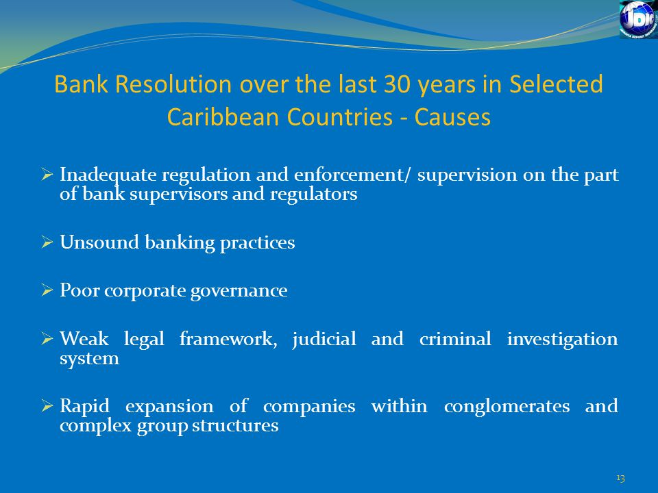 Bank Resolution over the last 30 years in Selected Caribbean Countries - Causes