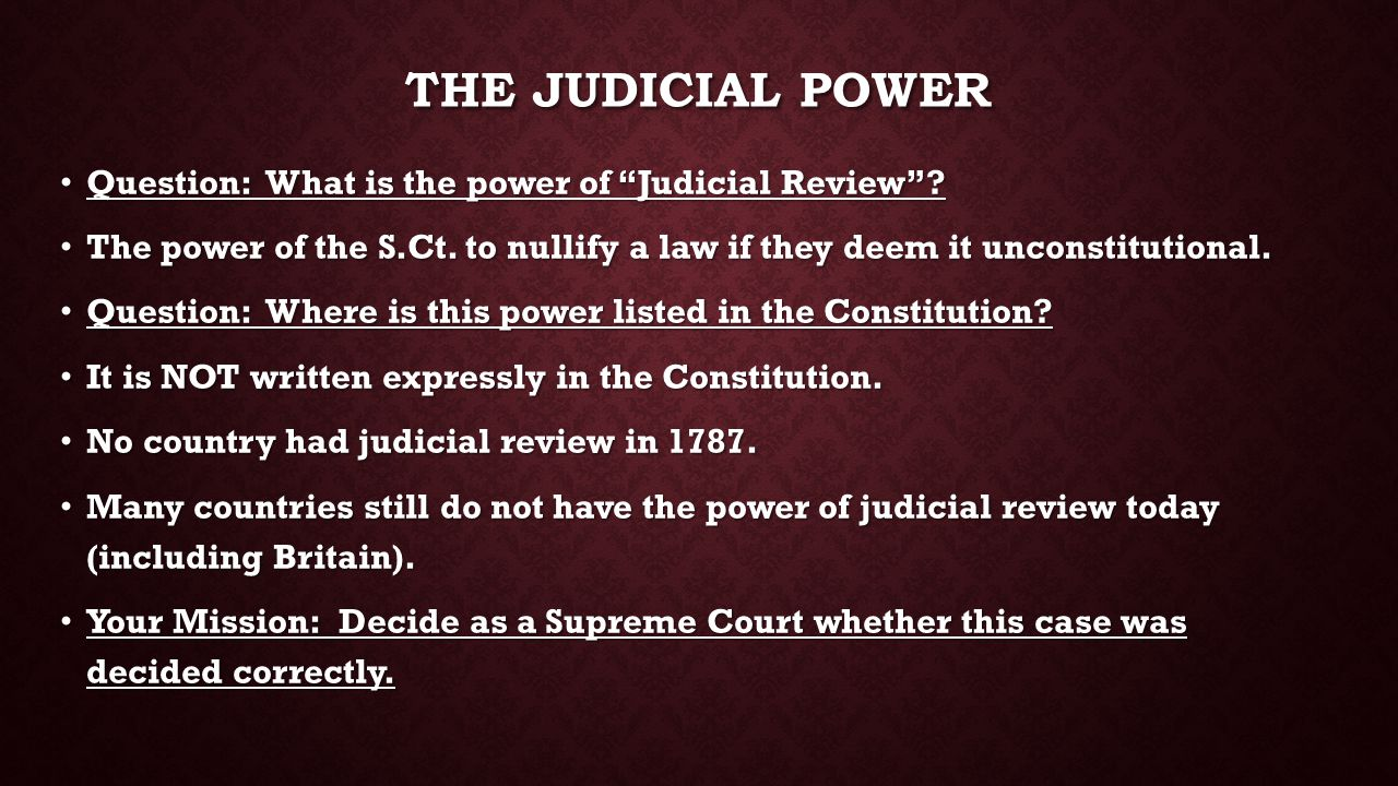 The Judicial Power Question: What is the power of Judicial Review