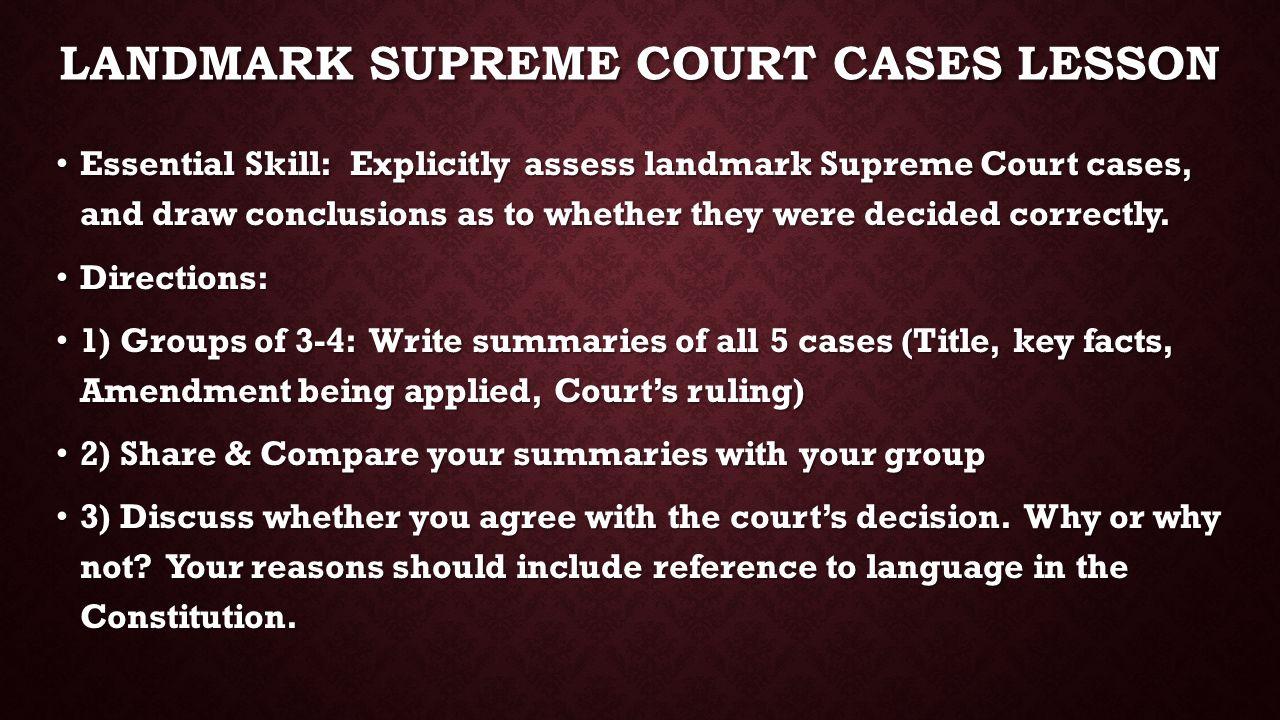 Landmark supreme court cases lesson