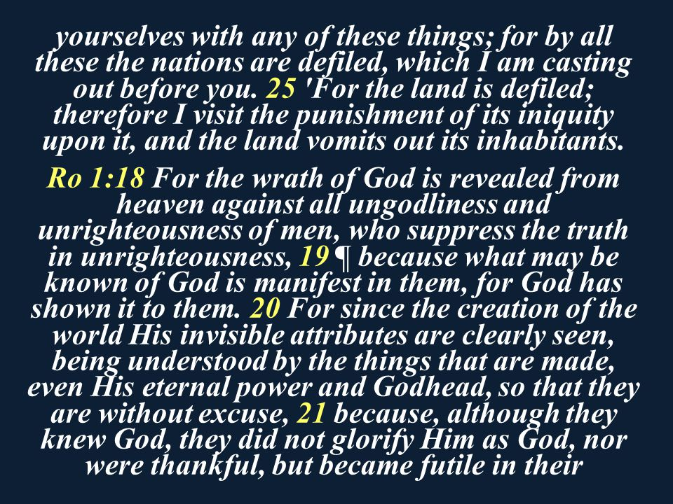 yourselves with any of these things; for by all these the nations are defiled, which I am casting out before you. 25 For the land is defiled; therefore I visit the punishment of its iniquity upon it, and the land vomits out its inhabitants.
