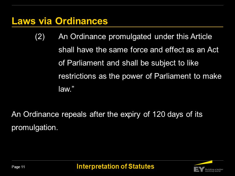 Laws via Ordinances