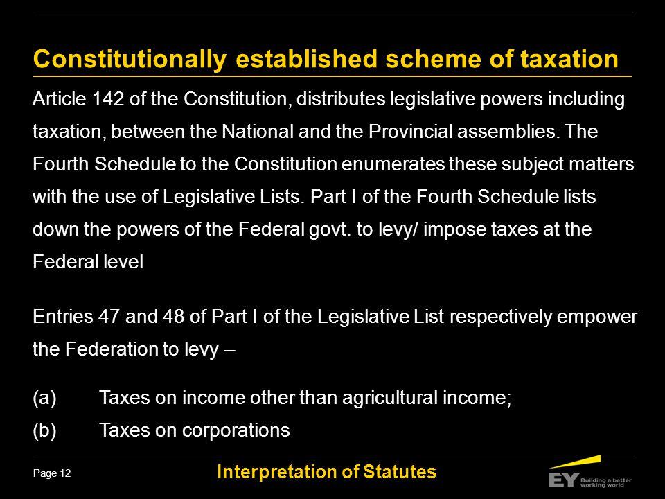 Constitutionally established scheme of taxation
