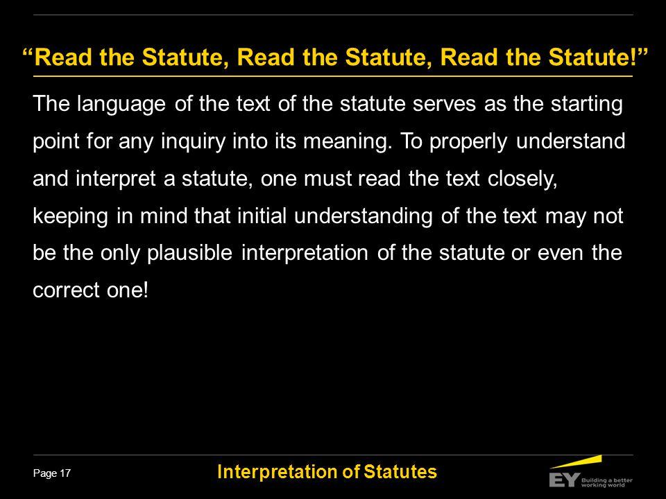 Read the Statute, Read the Statute, Read the Statute!