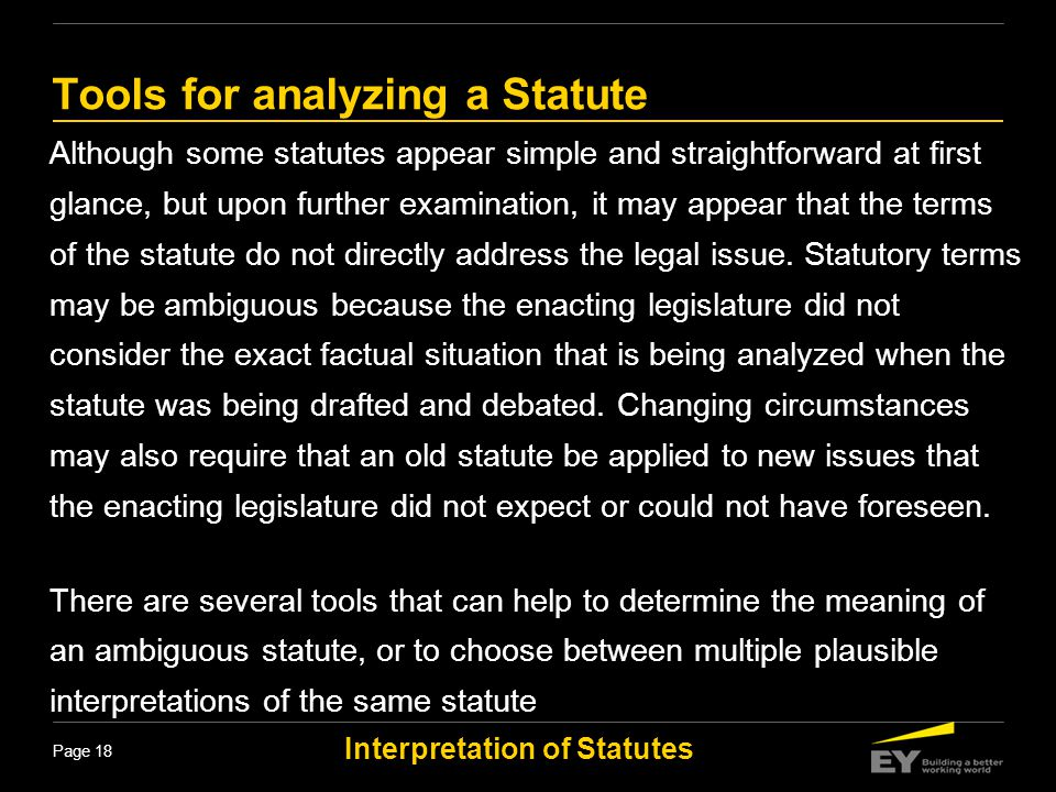 Tools for analyzing a Statute