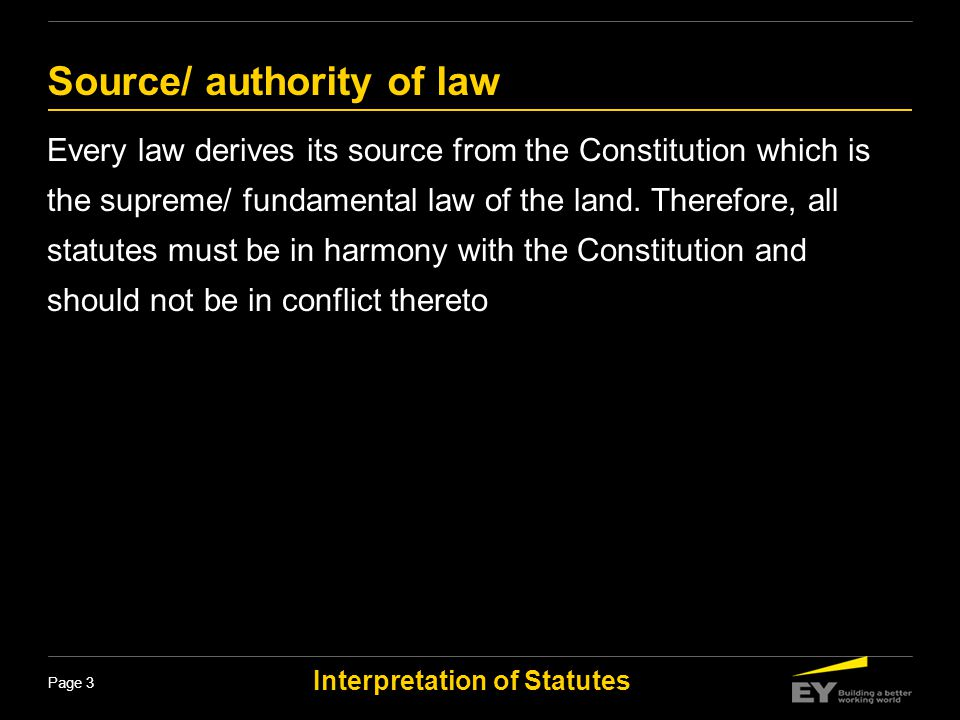 Source/ authority of law