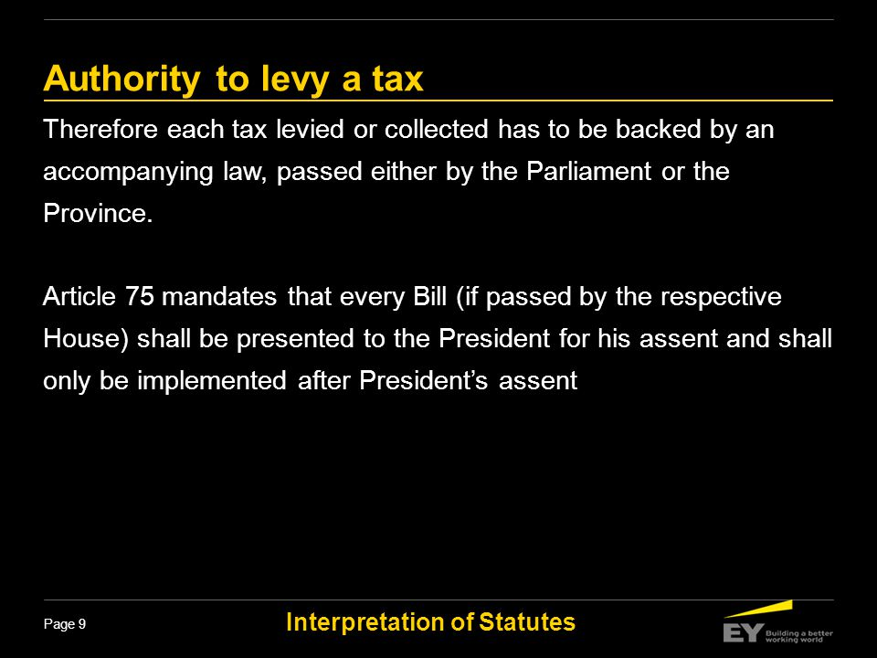 Authority to levy a tax