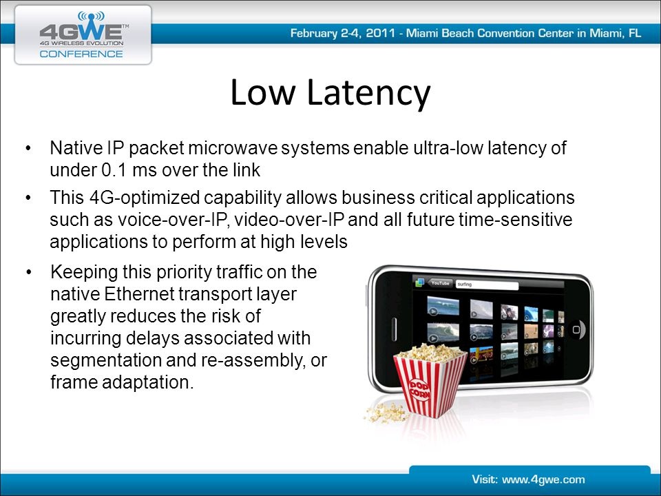 Low Latency Native IP packet microwave systems enable ultra-low latency of under 0.1 ms over the link.