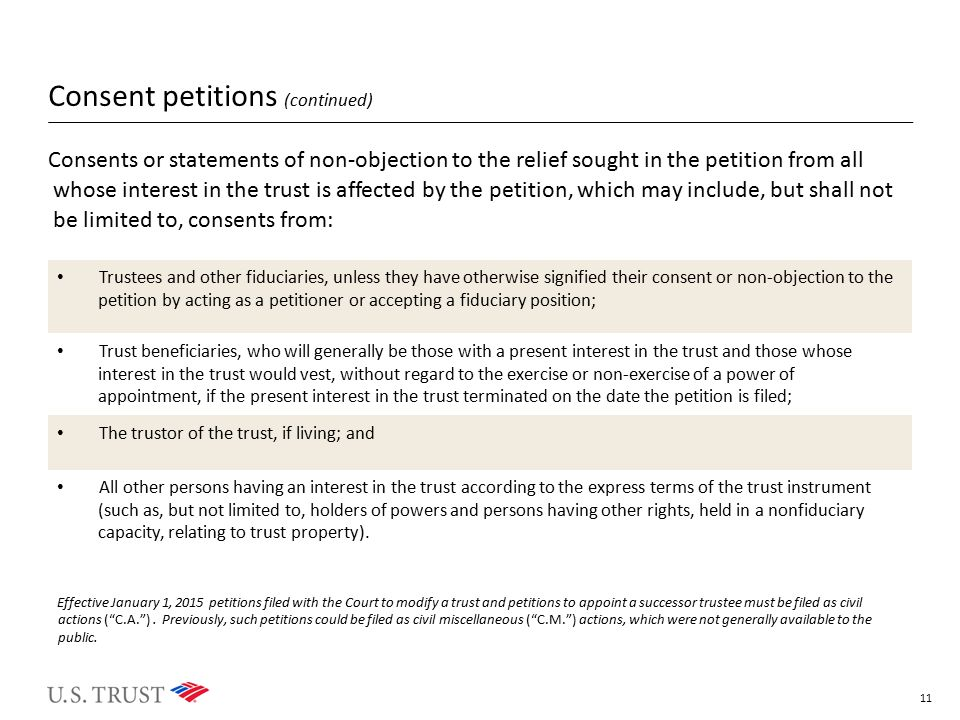Consent petitions (continued)