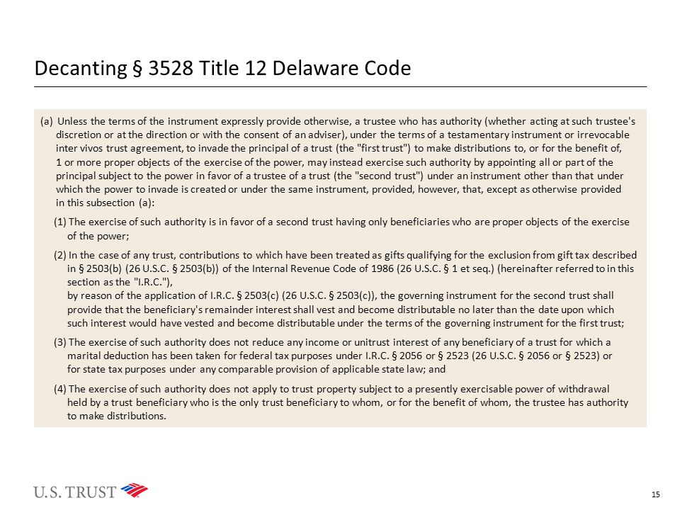 Decanting § 3528 Title 12 Delaware Code