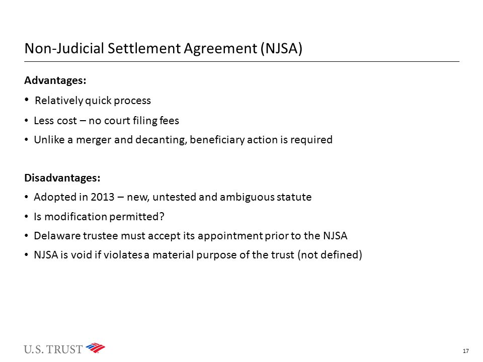 Non-Judicial Settlement Agreement (NJSA)