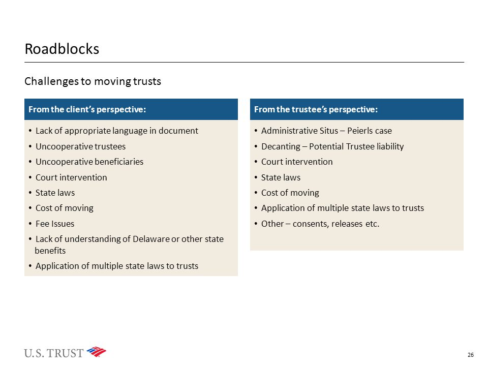 Roadblocks Challenges to moving trusts From the client's perspective: