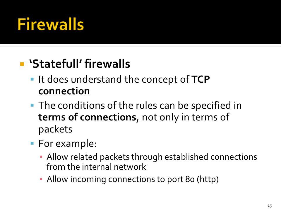 Firewalls 'Statefull' firewalls
