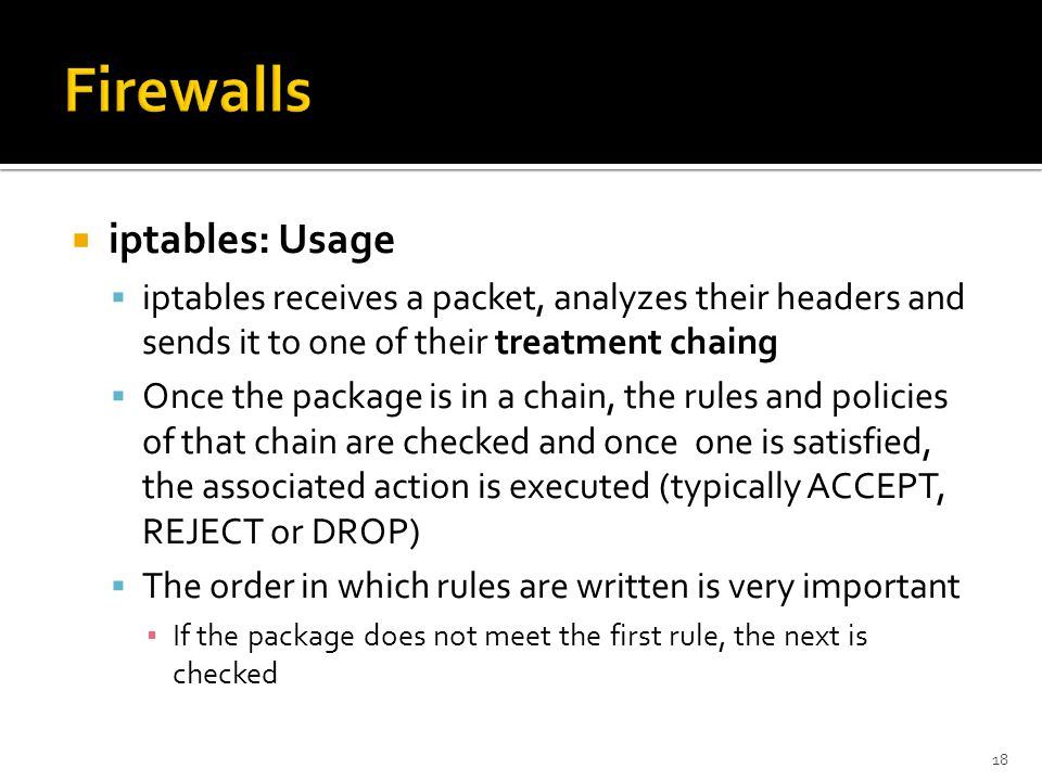 Firewalls iptables: Usage