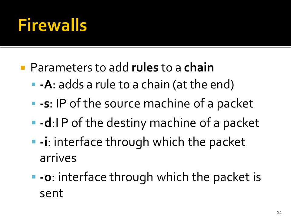 Firewalls -d:I P of the destiny machine of a packet