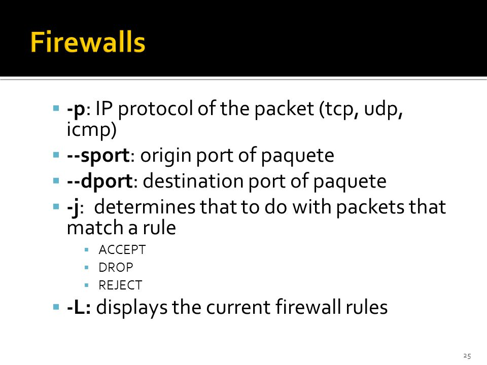 Firewalls -p: IP protocol of the packet (tcp, udp, icmp)