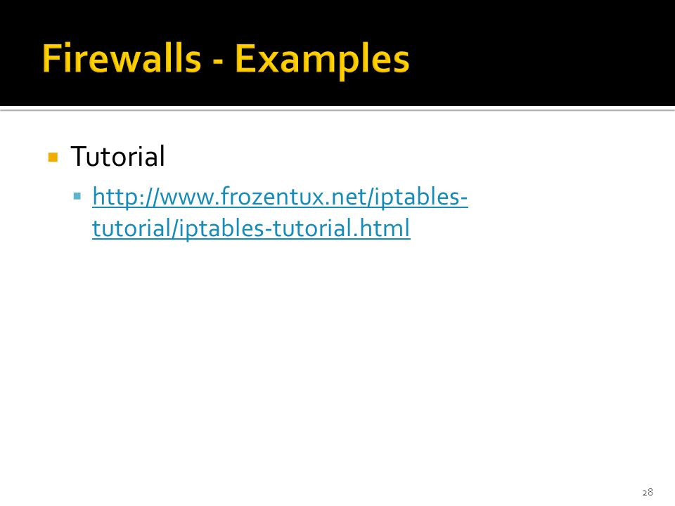 Firewalls - Examples Tutorial