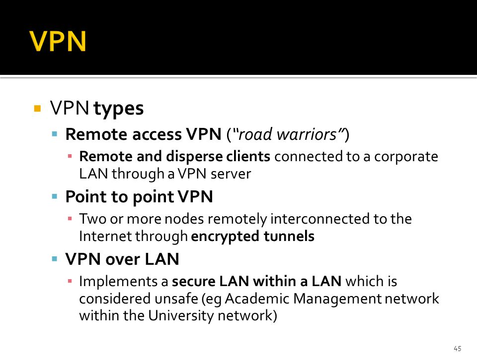 VPN VPN types Remote access VPN ( road warriors ) Point to point VPN