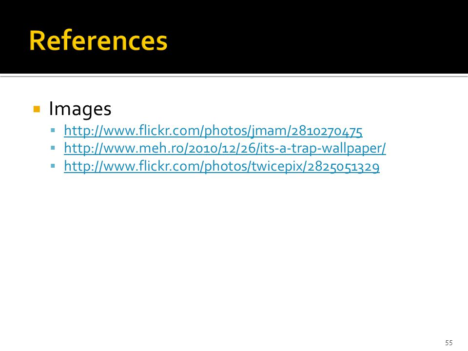 References Images http://www.flickr.com/photos/jmam/2810270475