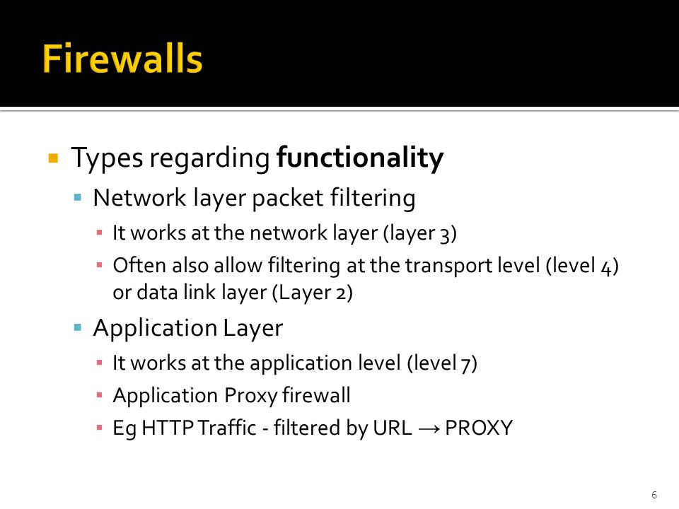 Firewalls Types regarding functionality Network layer packet filtering