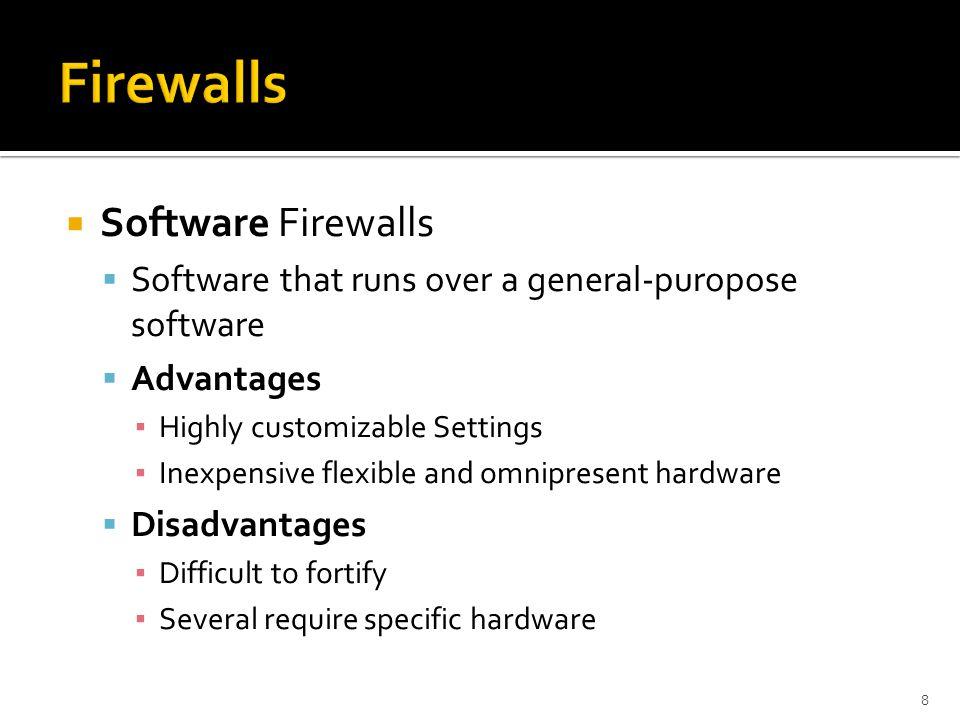 Firewalls Software Firewalls