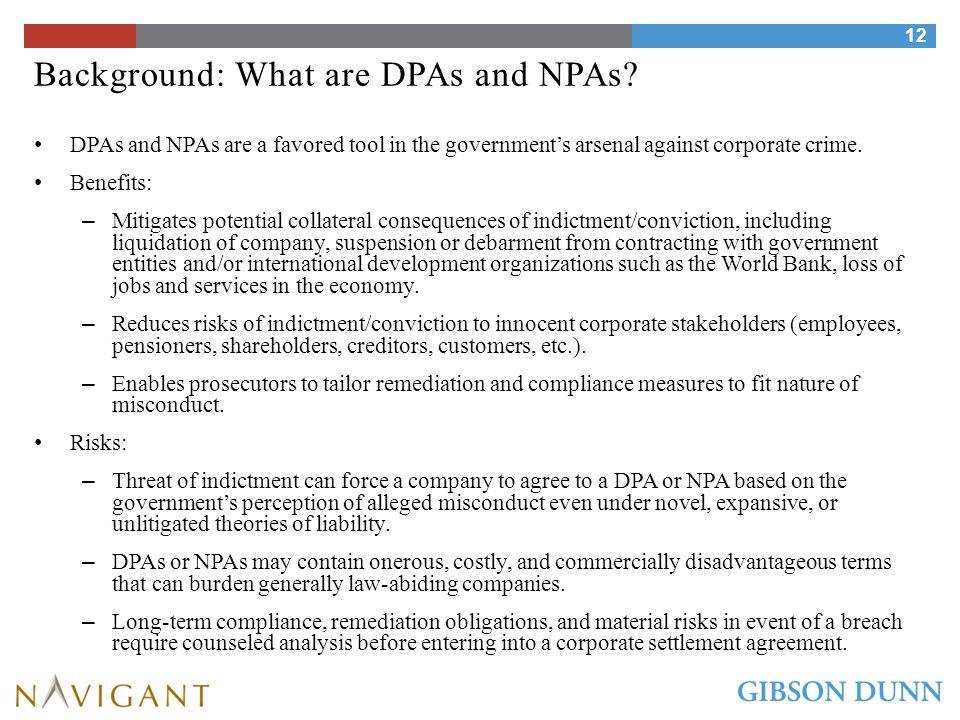 Background: Common Elements of Criminal DPAs/NPAs