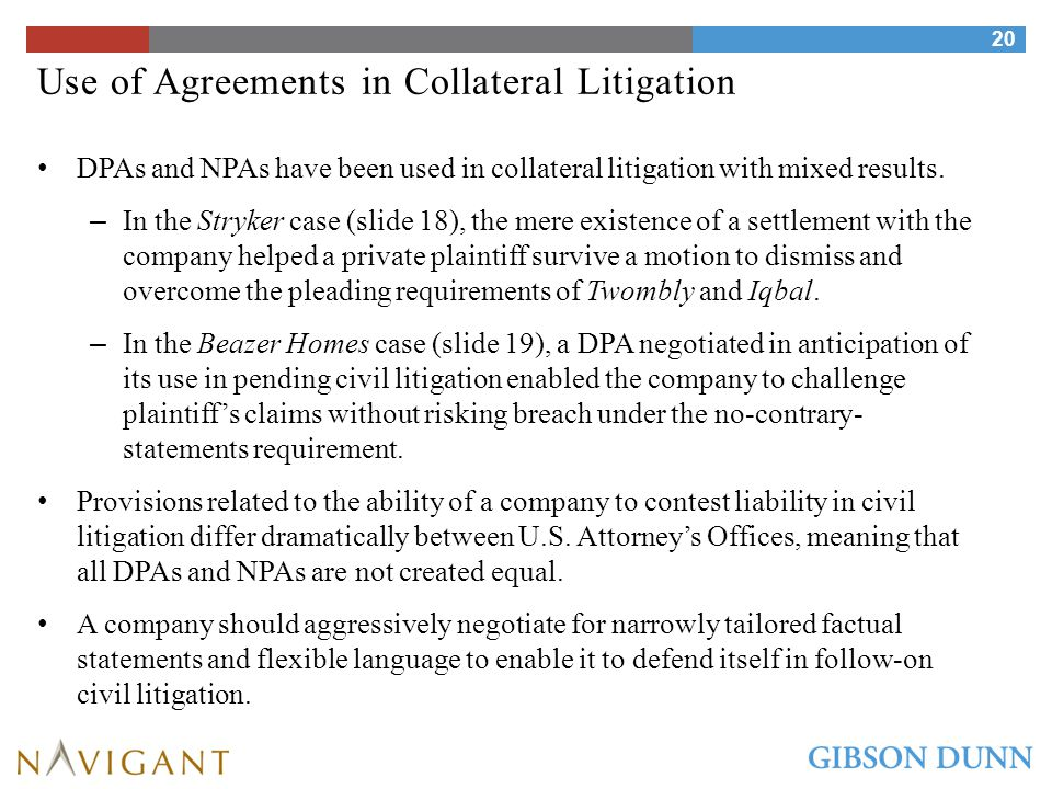 Use of Agreements in Collateral Litigation