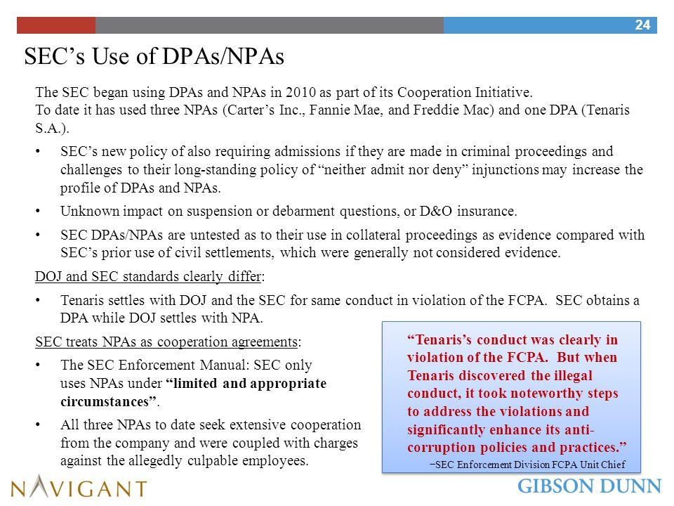 SEC's Use of DPAs/NPAs: A Comparison with DOJ
