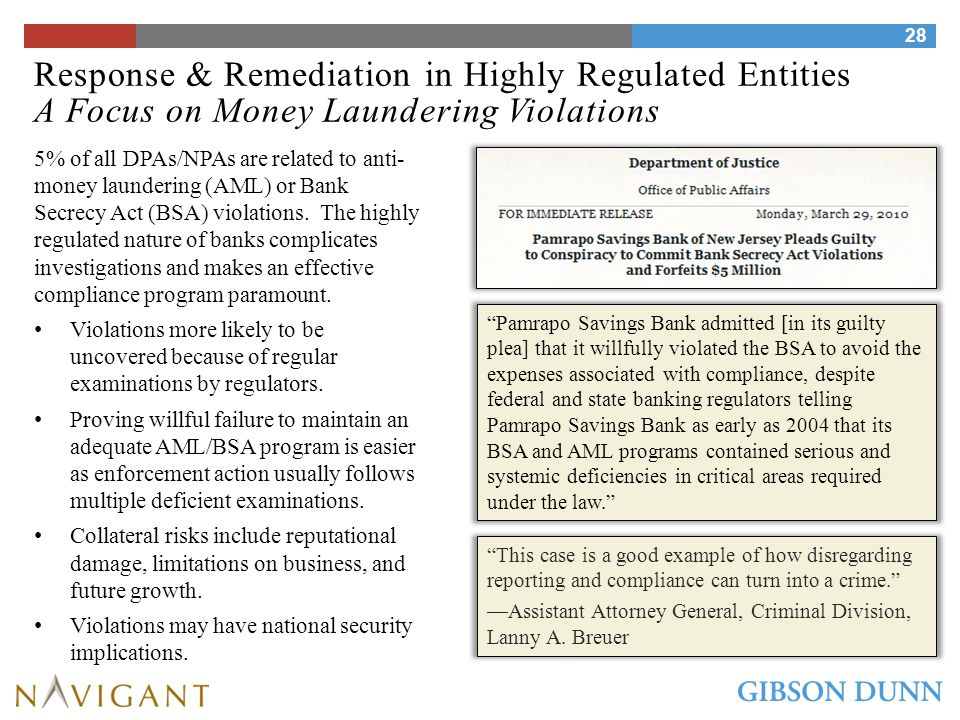 Response & Remediation in Highly Regulated Entities A Focus on Money Laundering Violations