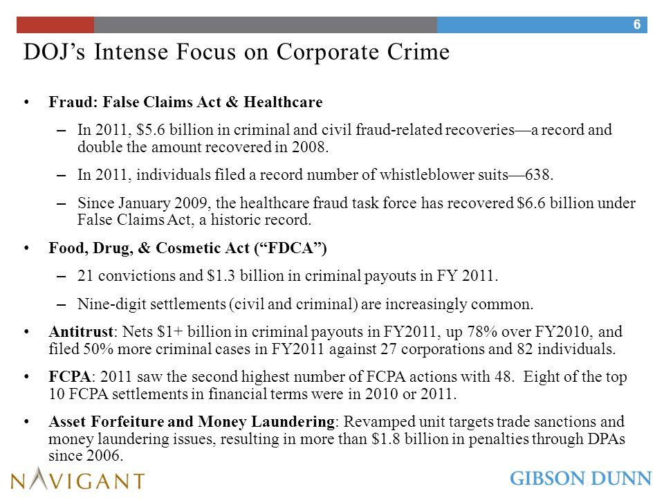 DOJ's Intense Focus on Corporate Crime