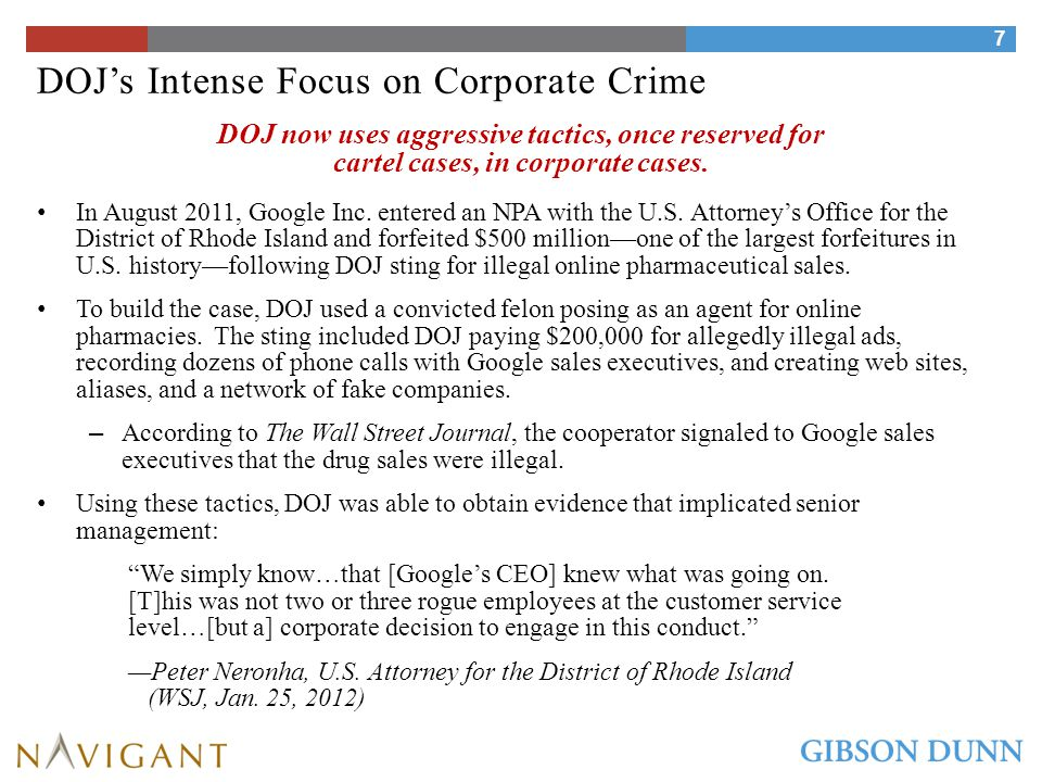 SEC's Intense Focus on Corporate Crime