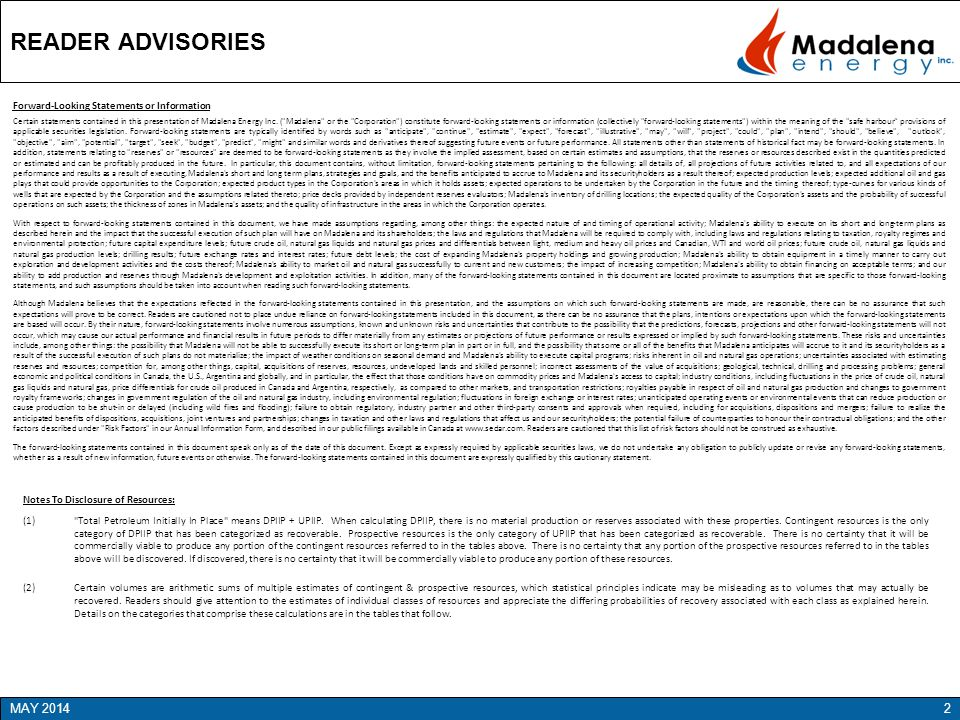 READER ADVISORIES MAY 2014 Forward-Looking Statements or Information
